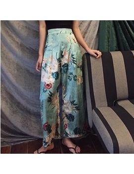 Gray House   Set: Plain Tank Top + Floral Print Wide Leg Pants by Gray House