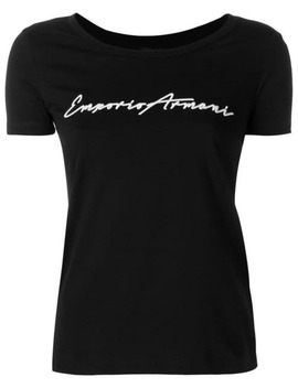 Cropped Logo T Shirt by Emporio Armani