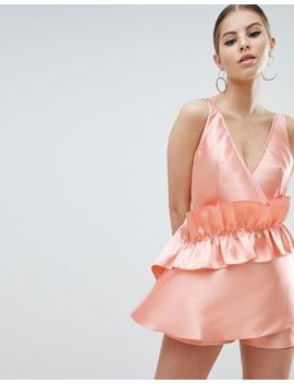 Asos Design Romper In Structured Fabric With Drape Detail by Asos Design