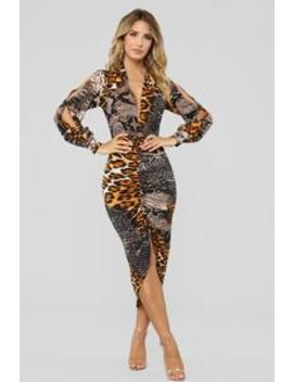 Out In The Jungle Dress   Brown by Fashion Nova