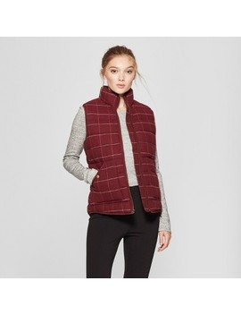 Women's Plaid Puffer Vest   A New Day™ Burgundy by A New Day™