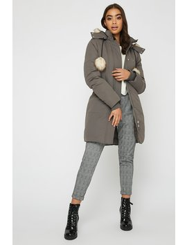 Faux Fur Pom Pom Parka Jacket by Urban Planet