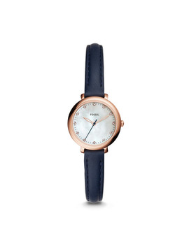 Jacqueline Mini Three Hand Indigo Dyed Leather Watch by Fossil