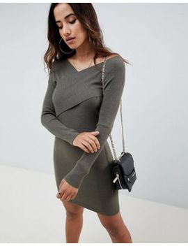 Asos Design Knitted Dress With Wrap Front by Asos Design