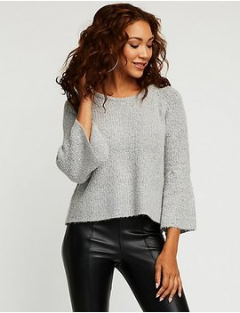 V Neck Bell Sleeve Sweatshirt by Charlotte Russe