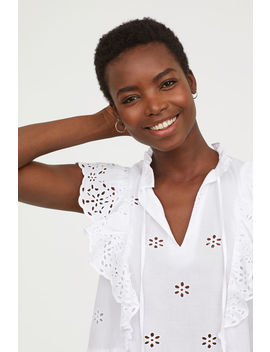 Embroidered Ruffle Blouse by H&M