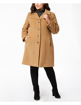 Plus Size Single Breasted Coat by Anne Klein