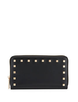Smooth Studded Continental Wallet by Neiman Marcus