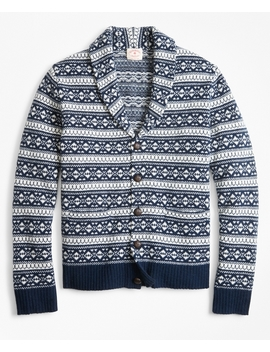 Fair Isle Wool Blend Shawl Collar Cardigan by Brooks Brothers