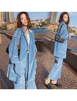 Ariadne   Set: Pocket Detail Corduroy Blazer + Cropped Wide Leg Pants by Ariadne
