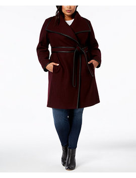 Plus Size Faux Leather Trim Wrap Coat, Created For Macy's by Dkny