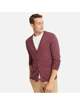 Men Mix Yarn V Neck Long Sleeve Cardigan by Uniqlo