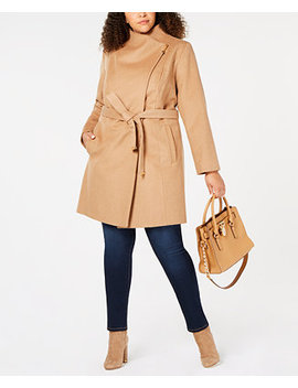 Plus Size Asymmetrical Belted Coat by Michael Michael Kors