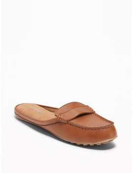 Faux Leather Moccasin Mules For Women by Old Navy