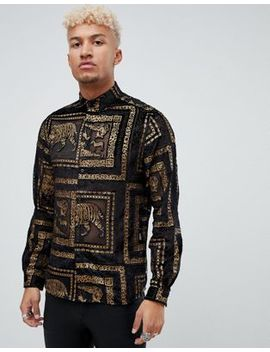 Asos Design Regular Fit Tiger Sheer Shirt With Gold In Black by Asos Design
