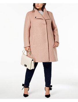 Plus Size Textured Coat by Kenneth Cole