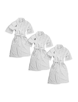 Monogrammed 100 Percents Cotton Bathrobe In White by Bed Bath And Beyond