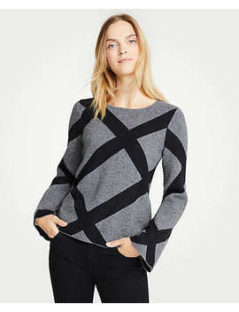 Enlarged Plaid Bell Sleeve Sweater by Ann Taylor