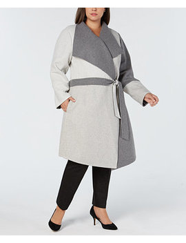 Plus Size Draped Colorblocked Coat, Created For Macy's by Alfani