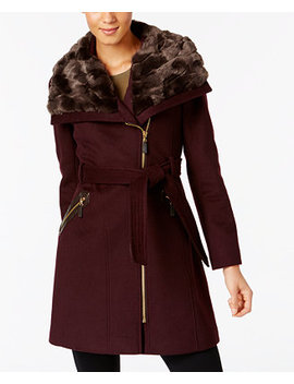 Plus Size Asymmetrical Faux Fur Collar Belted Coat by Via Spiga