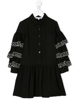 Embroidered Ruffle Sleeve Dress by Givenchy Kids