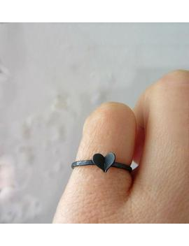 Black Heart Ring, Oxidized Sterling Silver, Skinny Ring, Gifts For Girlfriend, Valentines Gift, Romantic Gift by Etsy