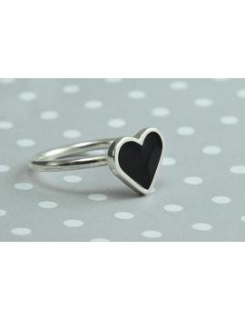 Heart Ring, Black Heart Ring, Love Ring, Silver Heart Ring, Dainty Ring, Valentine's Ring, Minimal Ring, Love Heart Gift, Romantic Jewelry by Etsy