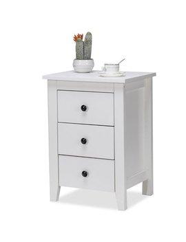 Costway Nightstand End Beside Table Drawers Modern Storage Bedroom Furniture White by Costway