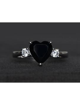 Natural Black Spinel Ring Promise Ring Black Gemstone Ring Heart Cut Gemstone by Etsy