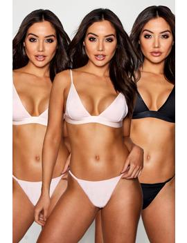 3 Pack Triangle Bralet by Boohoo