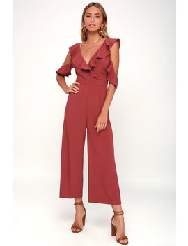 Doozy Rust Red Ruffled Wide Leg Off The Shoulder Jumpsuit by Lulus