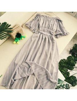 Lucuna   Striped Off Shoulder A Line Midi Dress by Lucuna