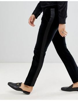 Twisted Tailor Super Skinny Suit Pants With Side Stripe In Velvet by Twisted Tailor