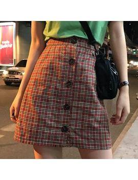 Luna Rouge   Lettering Short Sleeve T Shirt / Plaid Buttoned A Line Skirt by Luna Rouge