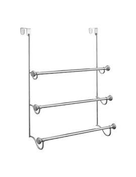 Inter Design York Over The Shower Door Towel Rack For Bathroom, Chrome/Brushed by Inter Design