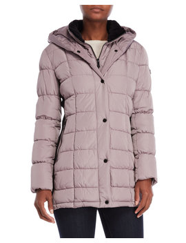 Hooded Quilted Bib Coat by Calvin Klein
