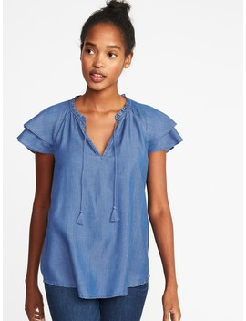 Ruffle Sleeve Tassel Tie Tencel® Top For Women by Old Navy