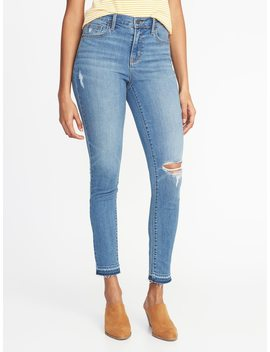 Mid Rise Curvy Distressed Skinny Ankle Jeans For Women by Old Navy