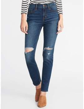 Mid Rise Distressed Straight Jeans For Women by Old Navy