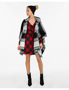 Plaid Hooded Poncho by Express