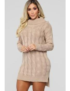Drinking Hot Chocolate Sweater Dress   Mocha by Fashion Nova