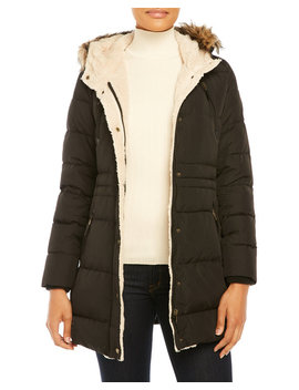 Hooded Faux Fur Trim Quilted Down Coat by Lauren Ralph Lauren