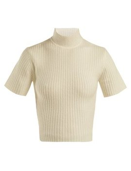 Claudia Cropped Cut Out Sweater by Staud