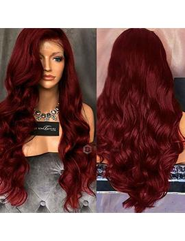 "Women Long Wavy Lace Front Free Part Synthetic Wig 31.5"" Heat Resistant Wigs By Funoc (Wine Red) by Funoc"