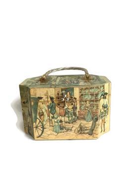 Vintage Billie Ross Of Palm Beaches Box Purse, 60s Edwardian Theme Decoupage Wood Basket Handbag, Wooden Handbag Vintage Purse by Etsy