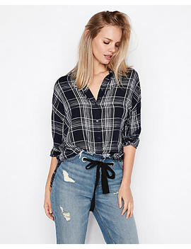 Plaid Oversized Button Up Shirt by Express
