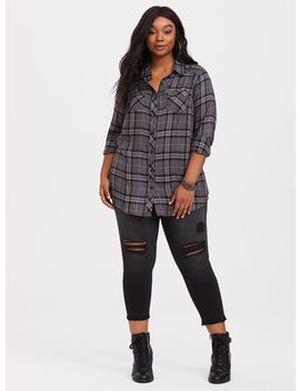 Taylor   Grey Plaid Twill Camp Shirt by Torrid