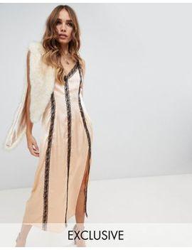 Dusty Daze Satin Midi Dress With Lace Trim by Dusty Daze