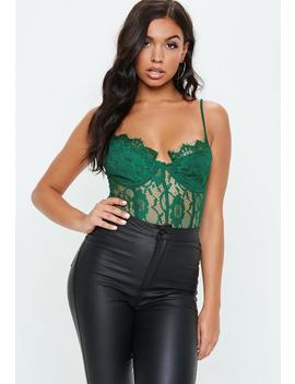 Green Strappy Lace Panel Bodysuit by Missguided