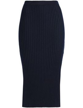 Ribbed Merino Wool Blend Midi Skirt by Joseph